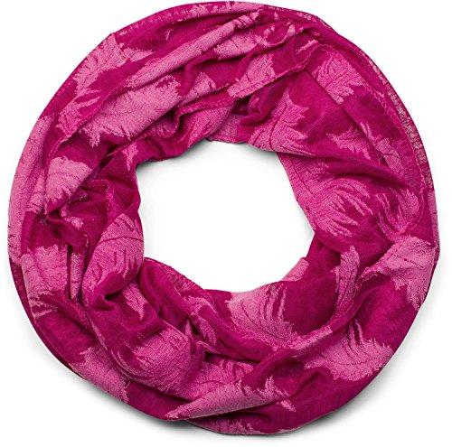 styleBREAKER Loop Schal mit gewebtem Feder Muster, Schlauchschal, Tuch, Unisex 01017068, Farbe:Himbeere