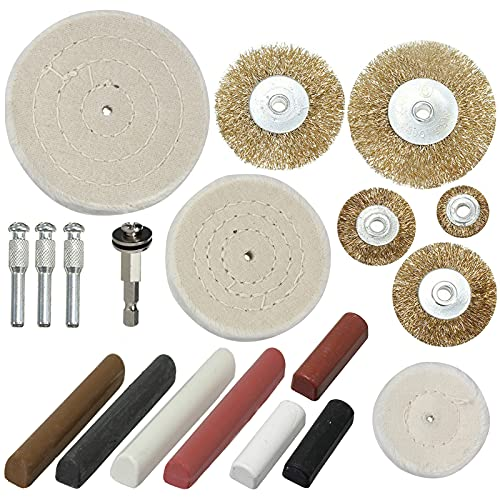 SPARES2GO Metal Cleaning Polishing Buffing & Compounds + Brass Wire Brush Wheel Kit for Power Tools (19 Pieces)