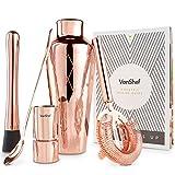 VonShef Premium cobre grabado parisino coctelera Set con soporte en caja de regalo con receta guía y accesorios