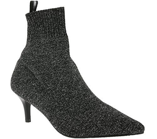 xyxyx Schuhe Stiefelette stylische Damen Stiefel mit elastischem Schaft Frühlings-Stiefel Mode-Schuhe Schwarz glitzernd, Größe:39