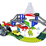 NeatoTek Dinosaur Toys 167 Pieces Race Tracks Flexible Train Track Race Car Vehicle Playset with 2 Race Cars and 7 Dinosaur Actions Figures for 3 4 5 6 Year & Up Old Boys Girls (Green Dinosaur)