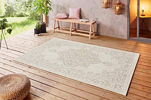 Große Auswahl Moderner Design Outdoor Teppich Wetterfest regensicher schmutzabweisend für Innenbereich und Außenbereich für Garten Balkon Terrasse Wohnzimmer 160x230 cm Größe (Creme Beige-103854)