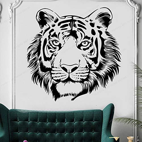 Tiger Head Forest King Animal Beast Jungle Predator Etiqueta de la pared Etiqueta engomada del coche Vinilo Calcomanía Niño Dormitorio Sala de estar Estudio Oficina Decoración para el hogar Mural