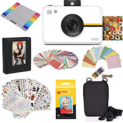 Zink Kodak Step Camera |Digital Instant Camera with 10MP Image Sensor, Zero Ink Technology (White) Gift Bundle