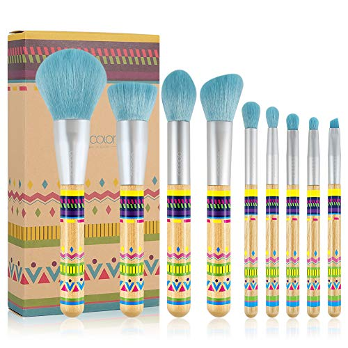 Docolor Makeup Brush Set, 9 Pieces BOHO Bamboo Makeup Brushes Professional Synthetic Make Up Brushes Kit with Face Foundation Blending Powder Eyeshadow Kabuki Brushes