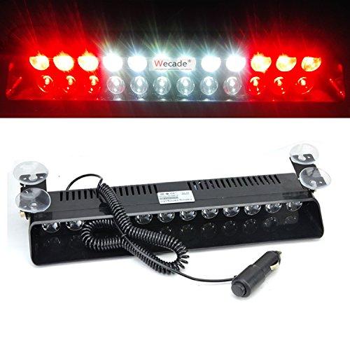 Wecade 12w 12 Leds Car Truck Emergency Strobe Flash Light Windshield Warning Light (Red/White/White/Red)