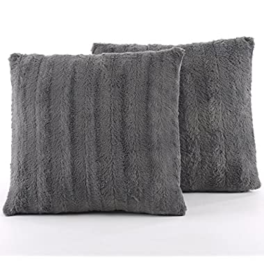 Cheer Collection Set of 2 Decorative Throw Pillows - Reversible Faux Fur to Microplush Accent Pillows by 18  x 18  - Grey