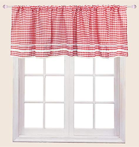 ZHH Window Valance Handmade Embroidered lace, Cafe Curtain Short Kitchen Curtain, Red and White Lattice 59 by 35-Inch (1 Panel)