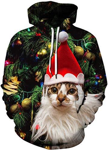 FLYCHEN Uomo Felpa con Cappuccio Natale 3D Stampato Usura delle Coppie Costumi di Natale Inverno Indossare con Tasca a Canguro Doppio Strato Manica Lunga Gatto con Cappuccio L/XL