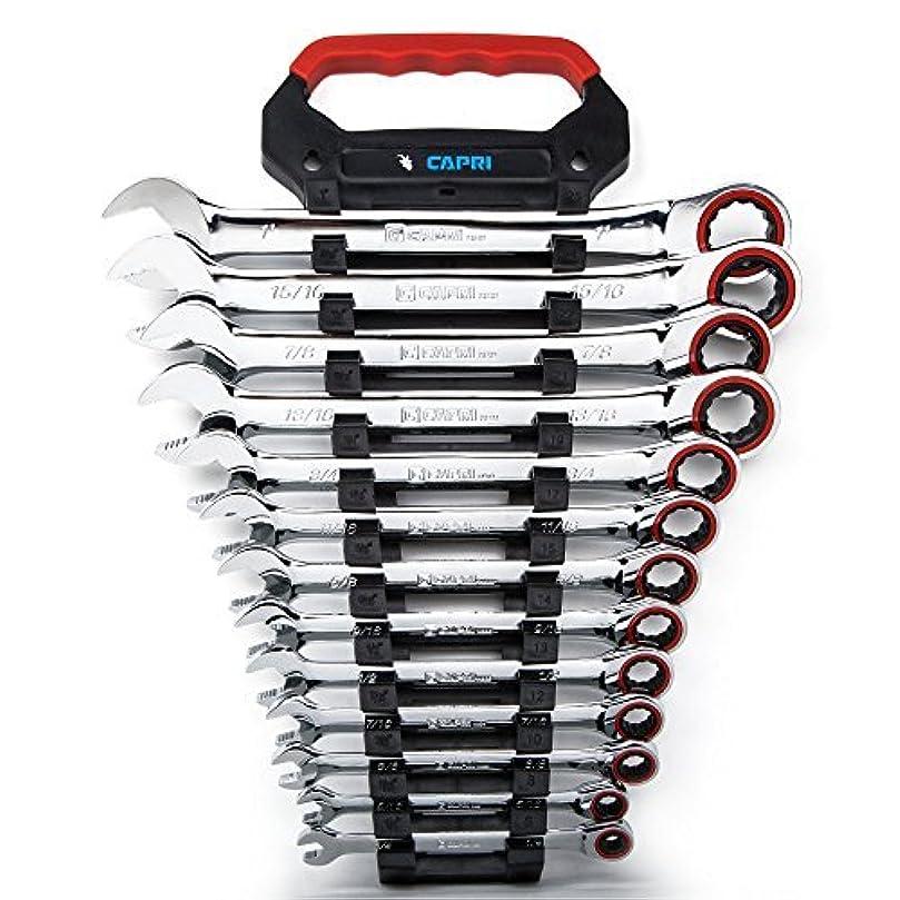 方向騒乱これらCapri Tools Ratcheting Wrench Set True 100-Tooth 3.6-Degree Swing Arc 1/4 to 1 in SAE 13-Piece in a Convenient Wrench Rack [並行輸入品]