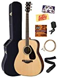 Yamaha FG830 Solid Top Folk Acoustic Guitar - Natural Bundle with Hard Case, Tuner,...
