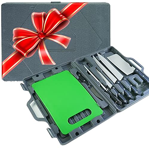 Camping Knife Set - RV Knife Set With Cutting Board - 8 Piece Travel Knife Set with Storage Case -...