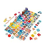 Furado Puzzles de Madera, Rompecabezas educativo de madera para niños, Montessori 6 en 1, Puzzles de Madera del Alfabeto, Números, Formas, Varios transportes