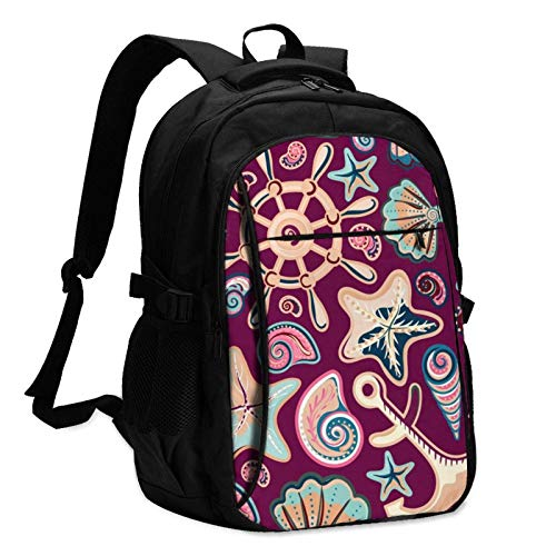 XCNGG Starfish Shell Wheel Unisex Travel Laptop Backpack with USB Charging Port School Anti-Theft Bag