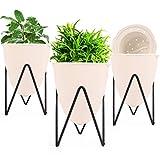 Herefun 3 pcs Macetas para Flores, Maceteros con Soportes para Plantas, Macetas Plantas Interior, Portamacetas para Balcón Jardín Decoración Hogar Maceteros Exterior (Grande)