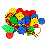 STUDY 70 Pcs Button Puzzle Toy, Button Lacing Toy, Big Button Threading Toy, Bright Buttons, Plastic Buttons Toy, Assorted Buttons