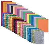 Moosgummi - 40 St. Schaumstoff zum Basteln je 20 Glitzer und normal DIN A5 2mm dick EVA Schaumstoffplatten Zuschnitt Bastelbogen wie Moosgummi top Qualität
