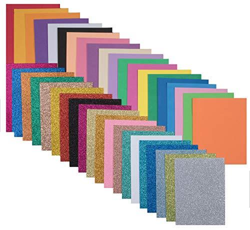 40 St. Schaumstoff zum Basteln je 20 Glitzer und normal DIN A5 2mm dick EVA Schaumstoffplatten Zuschnitt Bastelbogen wie Moosgummi top Qualität