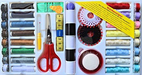 Deluxe Nähboutique mit 149 Teilen - Aktuelle Trendfarben - 16x Nähgarnspulen - Starke Qualität - (Typ1)