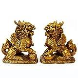 Zidao Fu Hund, Messingstatue, Chinesische Fengshui-Figur Kylin-Statue Reine Kupfer-Kylin-Ornamente Die Reichtum Für Das Stadthaus Einladen,Messing