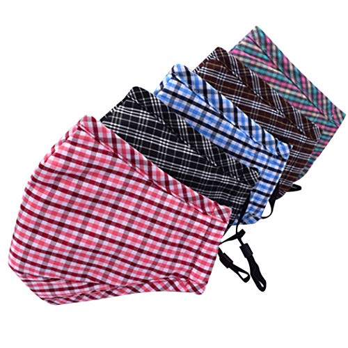 Aniwon 5 stks Mond Masker Plaid Ademend Anti-stof PM2.5 Carbon Filter Mond Cover Fietsmasker