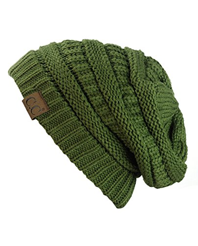 C.C Trendy Warm Chunky Soft Stretch Cable Knit Beanie Skully, Olive