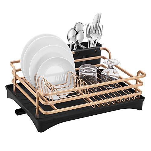 Aluminum Dish Drying Rack,HabiLife Never Rust Sink Dish Drying Rack with Utensil Holder, Removable Plastic Drainer Tray with Adjustable Swivel Spout(Rose Gold))