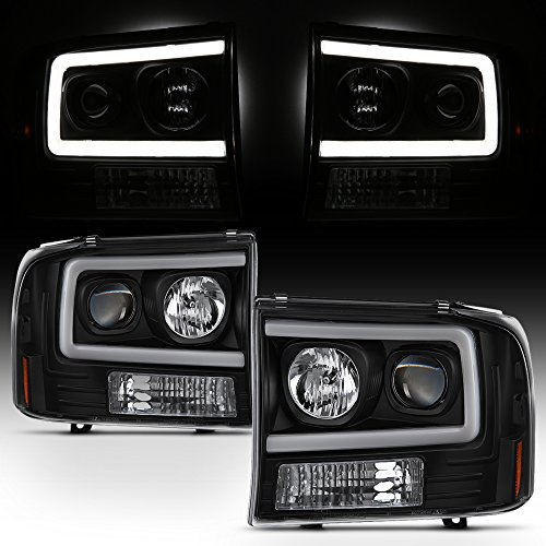 For 99-04 Ford F250 F350 F450 F550 SuperDuty Pickup LED Tube Bar Black Projector Headlights Pair LH+RH