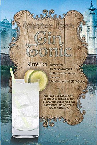 Schatzmix Authentische Rezepte : Gin Tonic Cocktail zutaten blechschild, bar, Kneipe