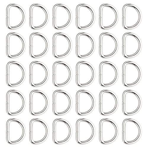 KIMI-HOSI 30 Piezas Anillas en D Plata Hebillas de Metal D-Rings para Hacer Bolso de Mano, Mochila, Bolsa de Equipaje, Collar para Mascotas, Accesorios de Bricolaje