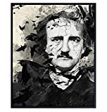 Edgar Allan Poe Poster - The Raven Gothic Wall Art Decor - Creepy Spooky Crow Home Decoration for Living Room, Apartment, Bedroom - Goth Gift for Men, Women, Wiccan, Halloween - 8x10 Picture Print