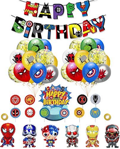 smileh Decoracion Cumpleaños Superheroes Globos de Superhéroe Feliz Cumpleaños del Pancarta Adornos de Pastel para niños Decoraciones de Cumpleaños Fiesta Marvel