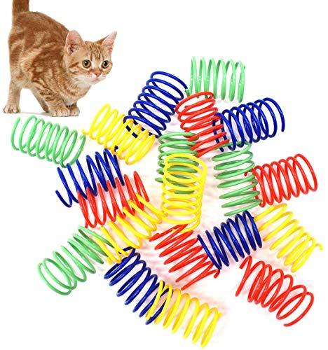 Liwein Juguete de Resorte de Gato Resortes Espirales de Bobina Plástico Muelles en Espiral Colorido Juguetes Interactivos para Gatos Gatito Perros Mascotas Novedad Regalo (40 Piezas)