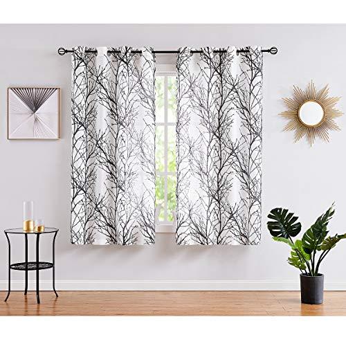 Fmfunctex Black White Sheer Curtains for Living-Room 72 inches Long Print Semi-Sheer Window Drapes for Bedroom Branch Tree Curtains for Bathroom Basement Kitchen Grommet Top, 1 Pair