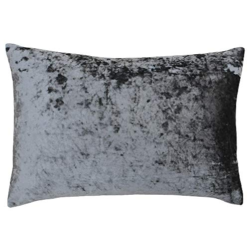Riva Paoletti Verona Cushion Cover Rectangle - Pewter Grey - Velvet Feel - Crushed Velvet Look - Hidden Zip Design - 100% Polyester - 40 x 60cm (16' x 24' inches) - Designed in the UK
