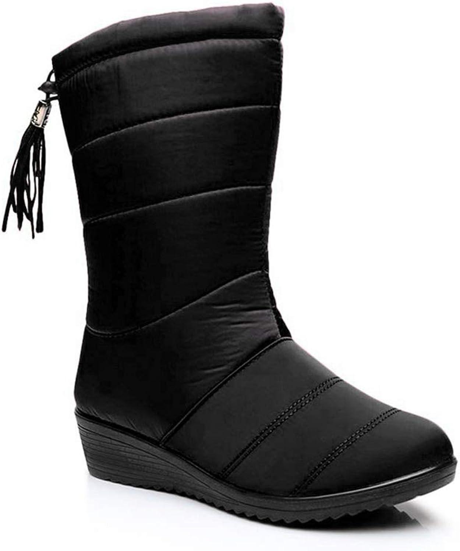 York Zhu Women Boots,Slip-on Round Toe Women Casual Winter Mid-Calf Booties Black