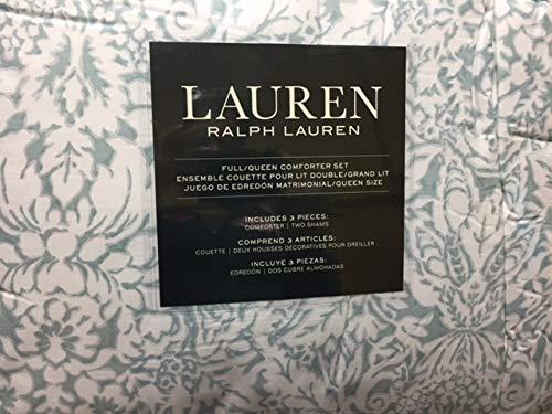 Lauren Ralph Lauren Provencal Floral Seafoam Green White Full Queen Comforter w/ 2 Shams
