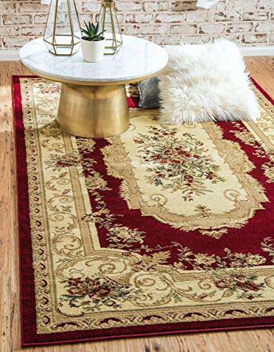 Unique Loom Versailles Collection Traditional Classic Floral Motif Area Rug (8' 0 x 10' 0 Rectangular, Burgundy/ Ivory)