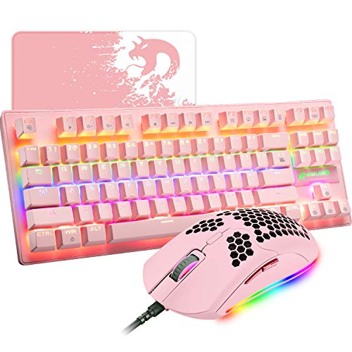 Pink Mechanical Gaming Keyboard Blue Switch Mini 87 Keys Wired Rainbow LED Backlit Keyboard Professional Lightweight Gaming Mouse Gaming Mice Pad for Gamers and Typists
