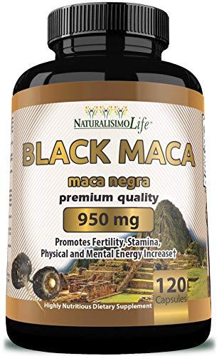 Organic Black Maca 950 mg per Capsule Natural Energy Booster Peruvian Maca for Men & Women 120 Capsules
