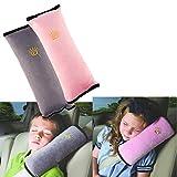 BeatlGem 2pcs Auto Pillow Cinturón de Seguridad para el Coche Protect, Almohadilla para el Hombro, Ajustar el Cinturón de Seguridad del vehículo para Niños (Gris, Rosa)