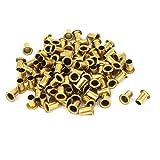 sourcingmap 5mm x 8mm Attraverso il foro rivetti forati passacavi tono oro 100 pz