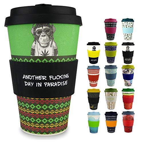 Morgenheld Dein trendiger Bambusbecher | Coffee-to-Go-Becher | Kaffeebecher mit Silikondeckel und Banderole in coolem Design, 400ml - Chilling Jim