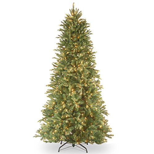 National Tree 6.5 Foot Feel-Real Tiffany Fir Slim Tree with 500 Clear Lights, Hinged (PETF3-304-65)
