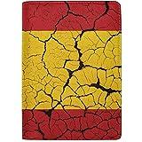 Bandera de España con Emblema Funda de Cuero portátil para Pasaporte Funda para Equipaje de Viaje Un Bolsillo
