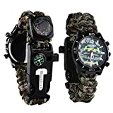 Survival Bracelet Watch, Men/Women Waterproof Emergency Survival Watch with Paracord Whistle Fire Starter Scraper Compass and Thermometer, 6 in 1 Multifunctional Outdoor Gear (CamouflageGreen)