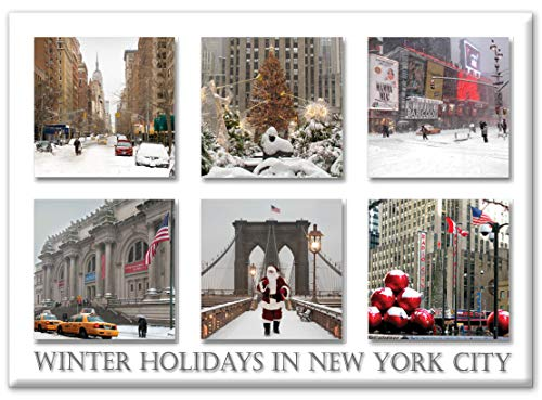 Christmas Landmarks - New York City Photo Souvenir Refrigerator Magnet - NYC Fridge Magnet