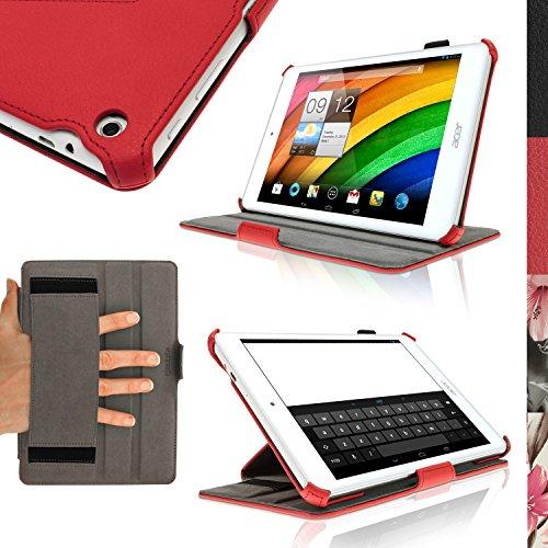 iGadgitz U2933 Eco-Pelle Cover Custodia Compatibile con Acer Iconia A1-830 7.9' Tablet con Supporto Multi-Angle + Cinghia + Pellicola - Rosso