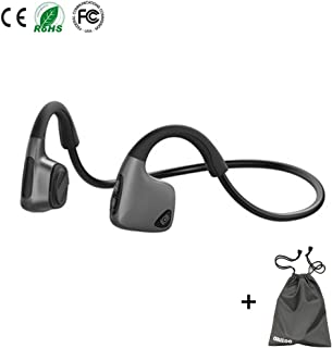 Bone Conduction Headphones Bluetooth Wireless Open Ear Headsets Lightweight Sweatproof Sport Headphones for Jogging Running Driving Cycling Compatible with iPhone Samsung Huawei (Black)