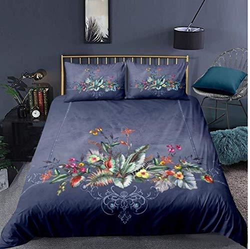 NTT Duvet Cover Fashion 3D Printed Leaves Flower Bedding Set Plant Duvet Cover Quilt Cover Pillowcase Bed Set 150 * 200Cm